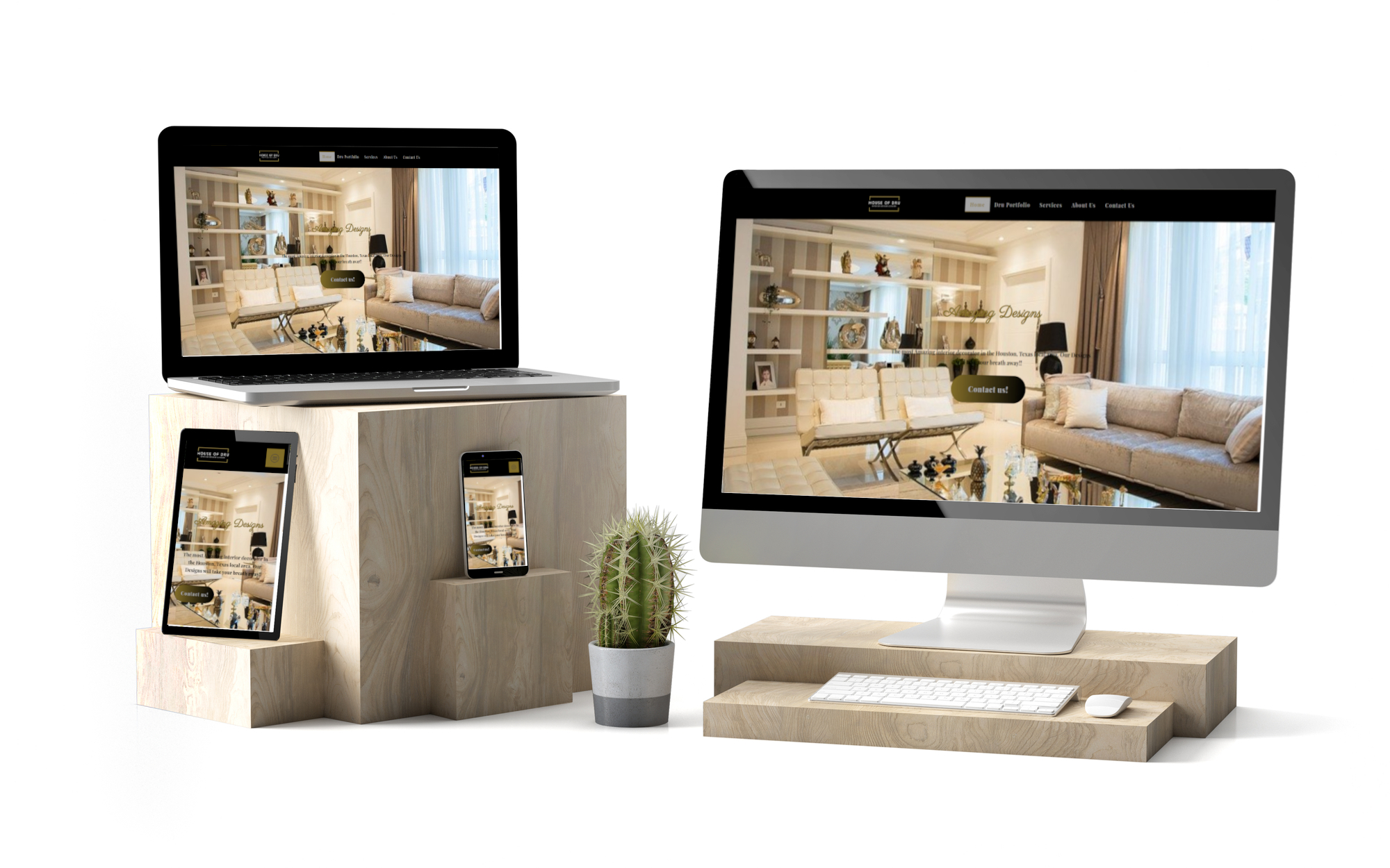 House of dru designs website on different devices