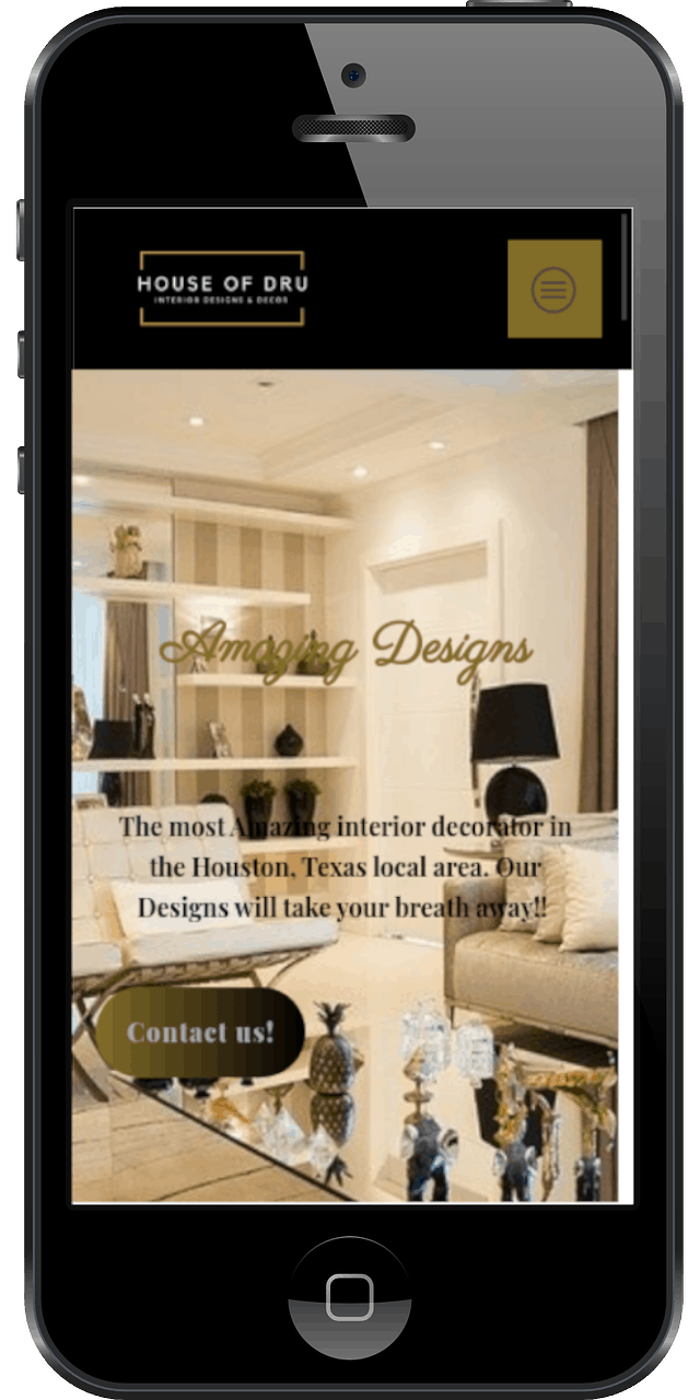 House of Dru Website on Mobile Device